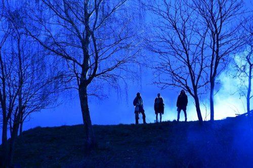 Story of Dakota zwischen Bäumen in der Abenddämmerung